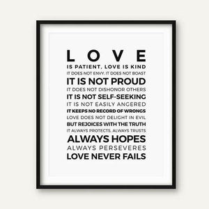 Love is Patient Love is Kind Print freeshipping - herfreespirit