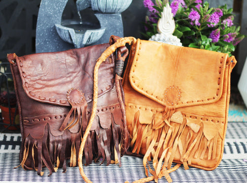 Cross-body boho leather bag/made in the UK freeshipping - herfreespirit