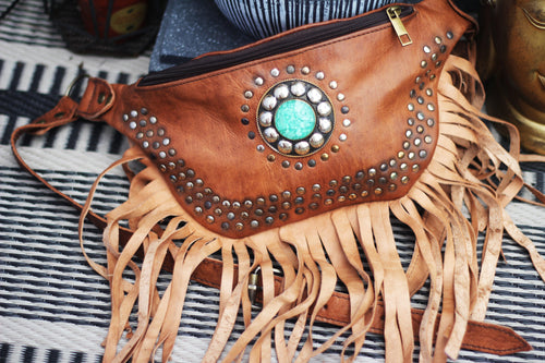 Boho leather bumbag/MADE IN UK freeshipping - herfreespirit
