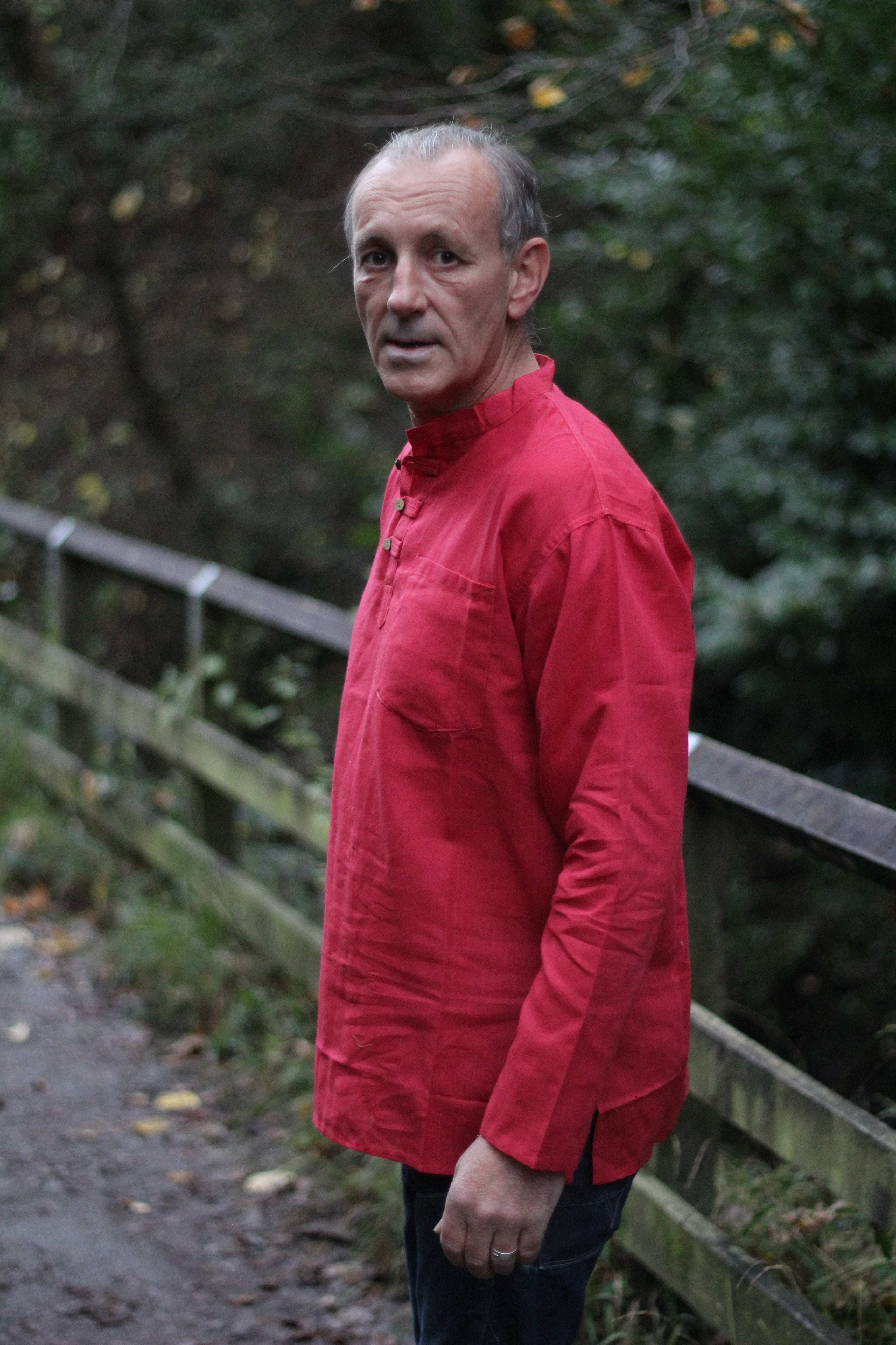 Red lightweight grandad shirt/Express delivery freeshipping - herfreespirit