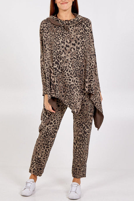 Asymmetrical Leopard Print Cowl Neck Lounge Wear Set freeshipping - herfreespirit