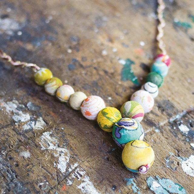 Cord and Recycled Fabric Bead Necklace