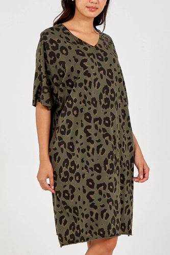 Leopard V-Neck Oversized Top freeshipping - herfreespirit