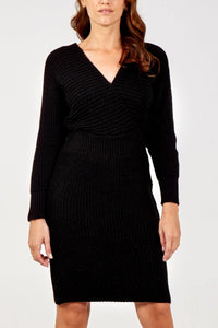 V Neck Knitted Long Sleeve Dress freeshipping - herfreespirit