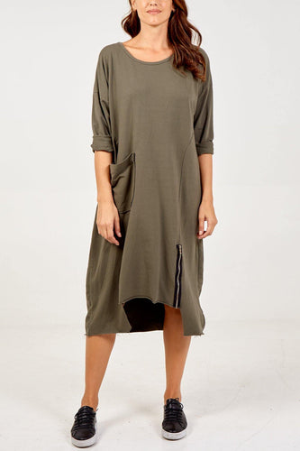 Oversize Asymmetric Hem Zip Detail Dress freeshipping - herfreespirit