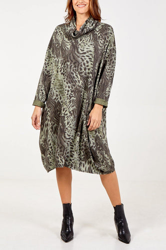 Asymmetric Roll Neck Animal Print Jumper Dress/express delivery freeshipping - herfreespirit
