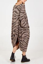 Load image into Gallery viewer, Long Sleeve Zebra Print Two Pocket Dress freeshipping - herfreespirit