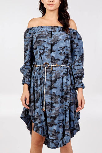 Off The Shoulder Bohemian Camouflage Woven Belt Dress freeshipping - herfreespirit