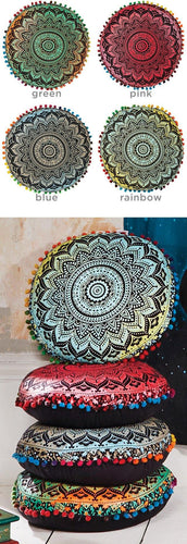 Round mandala yoga cushion with pom poms freeshipping - herfreespirit