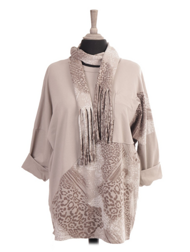 Italian Half Printed Top With Printed Scarf freeshipping - herfreespirit