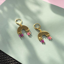 Load image into Gallery viewer, Sundown Earrings - Pink Rainbow