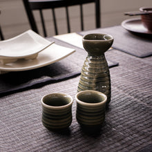 Load image into Gallery viewer, Handmade Green Wasabi Sake Set with 2 Cups