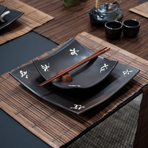 Black with Japanese Character Plate Set