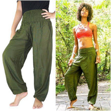Load image into Gallery viewer, SOLID Green Women Boho Pants Hippie Pants Yoga freeshipping - herfreespirit