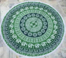 Load image into Gallery viewer, Mandala Tapestry Green With Elephants 200cm/EXPRESS DELIVERY freeshipping - herfreespirit