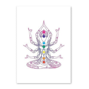 Colorful Lotus Flower Yoga Wall Art Print Poster , Watercolor Chakras Yoga Om Meditation Picture Canvas Painting Home Decoration freeshipping - herfreespirit