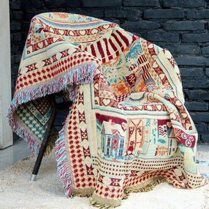 Bohemian Sofa Throw Blanket Boho Knit Chair Sofa Cover Towel Geometric Carpet Soft Cotton Travel Woven Bicycle Bedding Tapestry freeshipping - herfreespirit