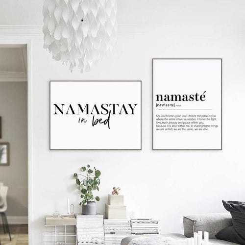 Abstract Wall Art Picture Black and White Namaste Definition Canvas Painting Yoga Artwork Zen Posters and Prints for Living Room freeshipping - herfreespirit