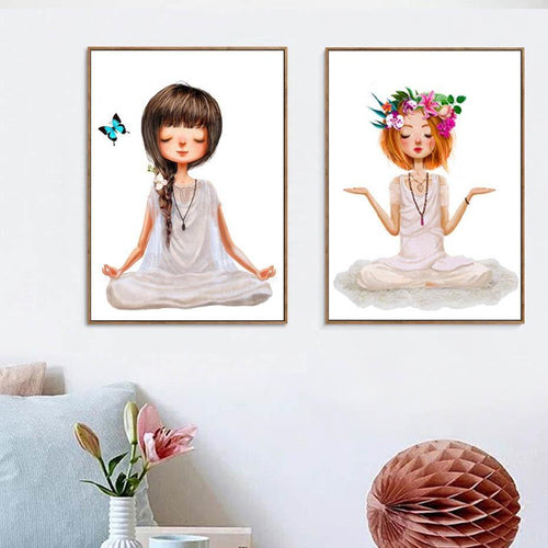 Lovely Yoga Girl Poster Canvas Paintings Wall Art Printings on Canvas Pictures For Living Room Girl's Room Home Decorations freeshipping - herfreespirit