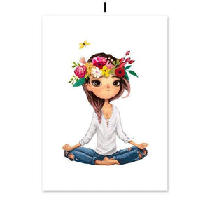 Girl Coffee Corolla Yoga Butterfly Cat Wall Art Canvas Painting Nordic Posters And Prints Wall Pictures For Living Room Decor