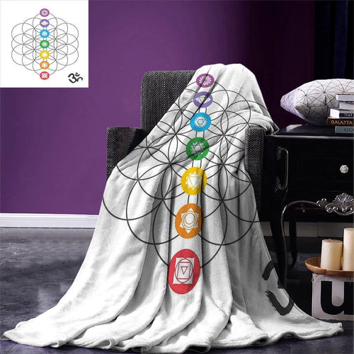 Sacred Geometry Throw Blanket Chakra Points in Vintage Concentric Rings of Partial Circle Zen Theme Image Warm Blanket for Bed freeshipping - herfreespirit