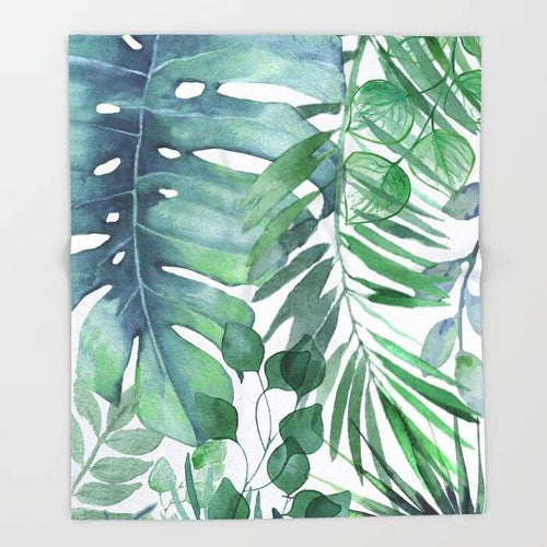 Tropical Leaves Nordic Watercolor Throw Blanket For Couch Hiking Picnic Quilt Travel Home Fleece Throw Blanket for Sofa freeshipping - herfreespirit