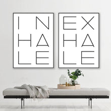 Load image into Gallery viewer, Inhale Exhale Typography Print Yoga Poster Minimalist Quotes Wall Art Canvas Painting Nursery Quote Pictures Home Wall Decor freeshipping - herfreespirit