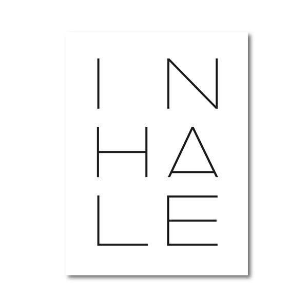 Inhale Exhale Typography Print Yoga Poster Minimalist Quotes Wall Art Canvas Painting Nursery Quote Pictures Home Wall Decor freeshipping - herfreespirit