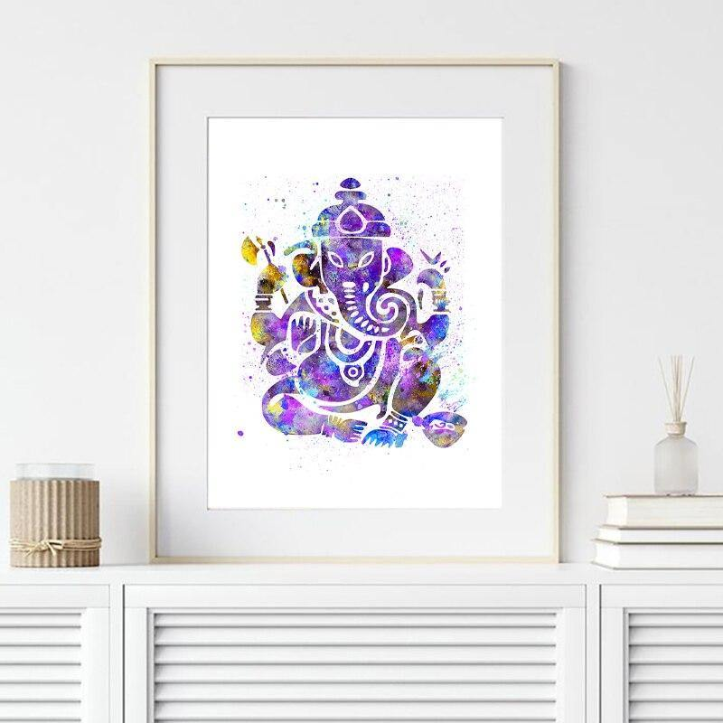 Ganesh Indian God Watercolor Yoga Poster Spiritual Wall Art Canvas Painting Meditation Print Decorative Picture Zen Home Decor freeshipping - herfreespirit