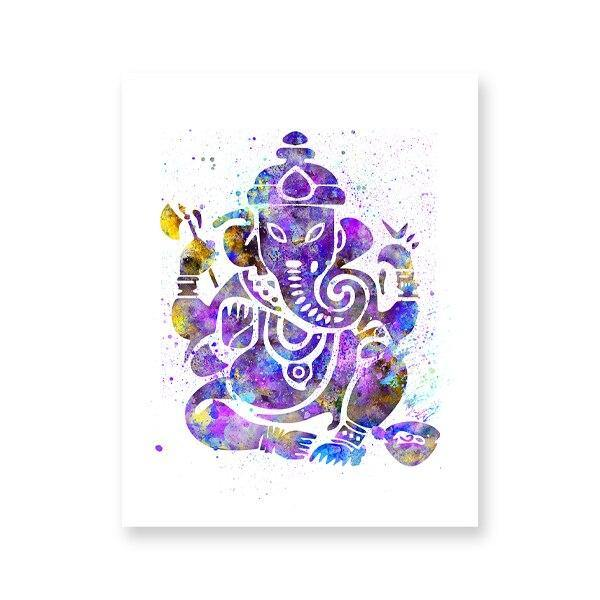 Ganesh Indian God Watercolor Yoga Poster Spiritual Wall Art Canvas Painting Meditation Print Decorative Picture Zen Home Decor