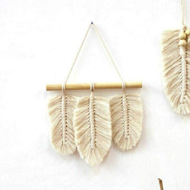 Small Macrame Wall Hanging Feather Boho Decor Woven Leaf Tassels Decoration Cotton Ornaments with Wooden Beads Home Decor freeshipping - herfreespirit