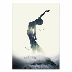 Nordic Style Home Decor Printed Paintings Being A Yoga Woman Pictures Wall Art Modular Canvas Poster Modern Bedside Background freeshipping - herfreespirit