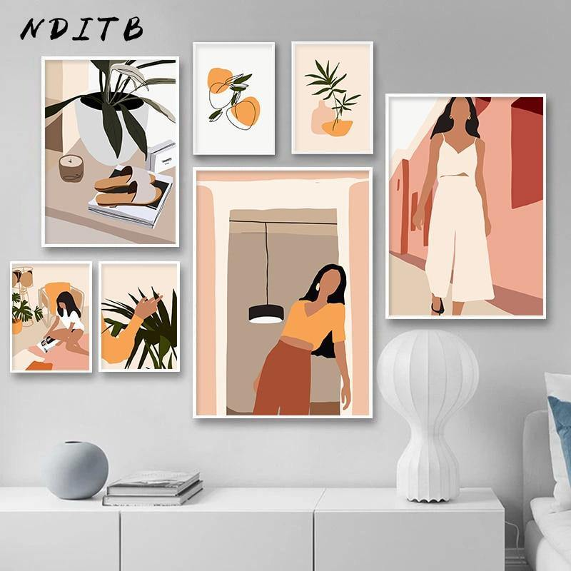 Abstract Fashion Vintage Woman Wall Art Canvas Painting Nordic Poster Minimalist Print Wall Pictures For Living Room Decoration freeshipping - herfreespirit
