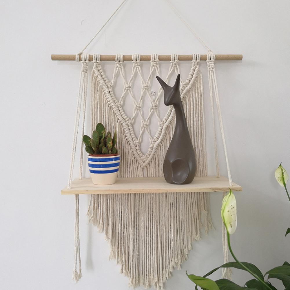Macrame Wall Hanging Shelf Bohemian Style Handmade Home Kids Room Decoration Wall Shelf Tassel Tapestry makramee