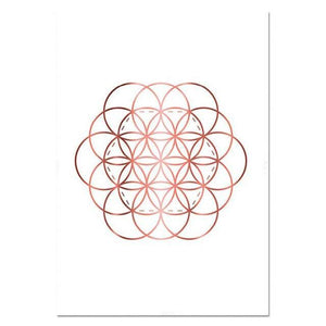 Yoga Art Print Rose Gold Wall Art Flower of Life Poster Hamsa Canvas Painting Wall Painting Decoration Picture Modern Room Decor