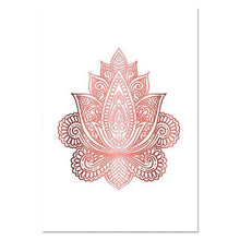 Load image into Gallery viewer, Yoga Art Print Rose Gold Wall Art Flower of Life Poster Hamsa Canvas Painting Wall Painting Decoration Picture Modern Room Decor freeshipping - herfreespirit