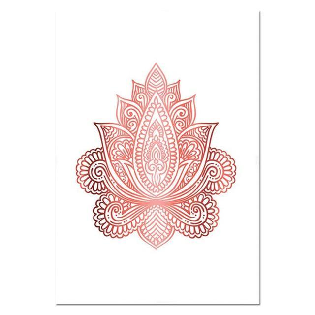 Yoga Art Print Rose Gold Wall Art Flower of Life Poster Hamsa Canvas Painting Wall Painting Decoration Picture Modern Room Decor freeshipping - herfreespirit