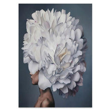 Load image into Gallery viewer, Canvas Painting Flowers Bird Feathers Woman Abstract  Wall Art Print Poster Picture Decorative Painting Living Room Decoration