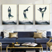 Load image into Gallery viewer, Woman Yoga Forest Canvas Poster Wall Art Prints  Minimalist Geometric Painting Nordic Home Decoration Pictures