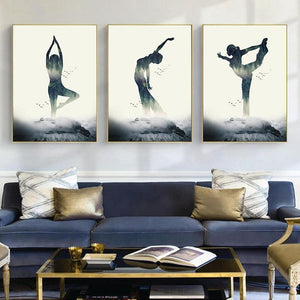 Woman Yoga Forest Canvas Poster Wall Art Prints  Minimalist Geometric Painting Nordic Home Decoration Pictures