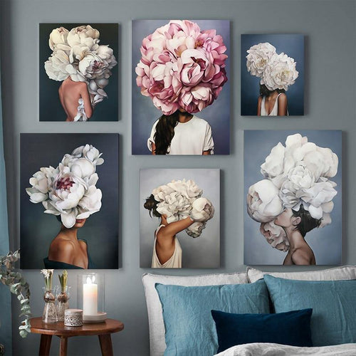 Nordic Modern Floral Feather Woman Abstract Fashion Style Canvas Painting Art Print Poster Picture Wall Living Room Home Decor freeshipping - herfreespirit