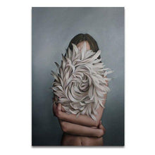 Load image into Gallery viewer, Nordic Modern Floral Feather Woman Abstract Fashion Style Canvas Painting Art Print Poster Picture Wall Living Room Home Decor freeshipping - herfreespirit