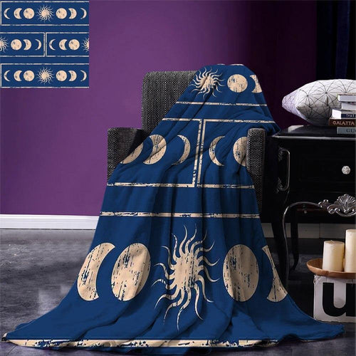 Sacred Geometry Throw Blanket Grungy Display Ethnic of Planetary Sun Moon Phases of Mystery Warm Blanket for Bed Couch Violet freeshipping - herfreespirit