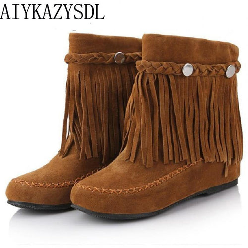 Bohemian gypsy boho ethnic national women tassel fringe Faux suede leather ankle boots woman girl flat shoes booties freeshipping - herfreespirit