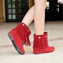 Load image into Gallery viewer, Bohemian gypsy boho ethnic national women tassel fringe Faux suede leather ankle boots woman girl flat shoes booties