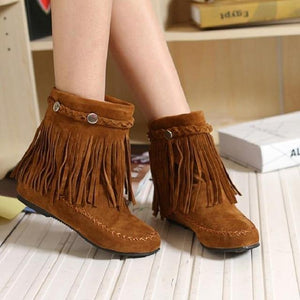 Bohemian gypsy boho ethnic national women tassel fringe Faux suede leather ankle boots woman girl flat shoes booties