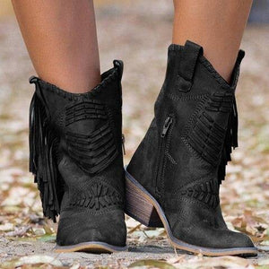 Nice New Boho Flock Leather Women Boots Fringe Flat Heels Woman Med High Solid Boots Woman Tassel Botas Mujer Botte Femme freeshipping - herfreespirit