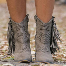 Load image into Gallery viewer, Nice New Boho Flock Leather Women Boots Fringe Flat Heels Woman Med High Solid Boots Woman Tassel Botas Mujer Botte Femme freeshipping - herfreespirit