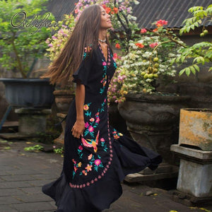 Ordifree 2020 Summer Boho Women Embroidery Long Dress Bohemian Ruffle Floral Embroidered Vintage Maxi Dress Holiday Clothes freeshipping - herfreespirit
