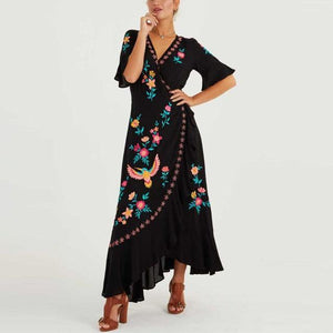 Ordifree 2020 Summer Boho Women Embroidery Long Dress Bohemian Ruffle Floral Embroidered Vintage Maxi Dress Holiday Clothes